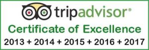 Tripadvisor Certificate of Excellence for Hakes Bay Scenic Tours located in Napier New Zealand