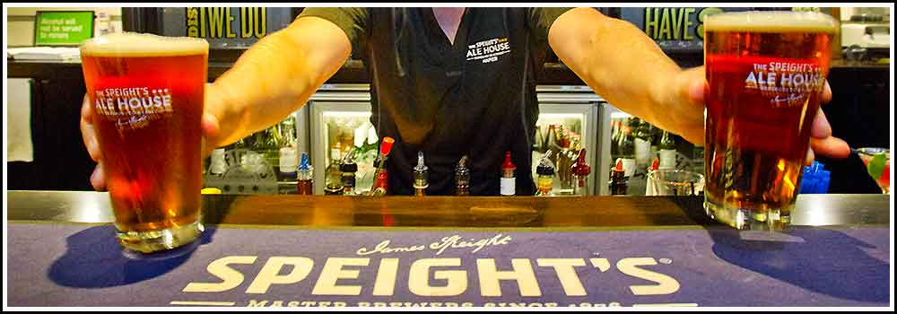 Enjoy complimentary beers at Speights Ale House with Hawkes Bay Scenic Tours