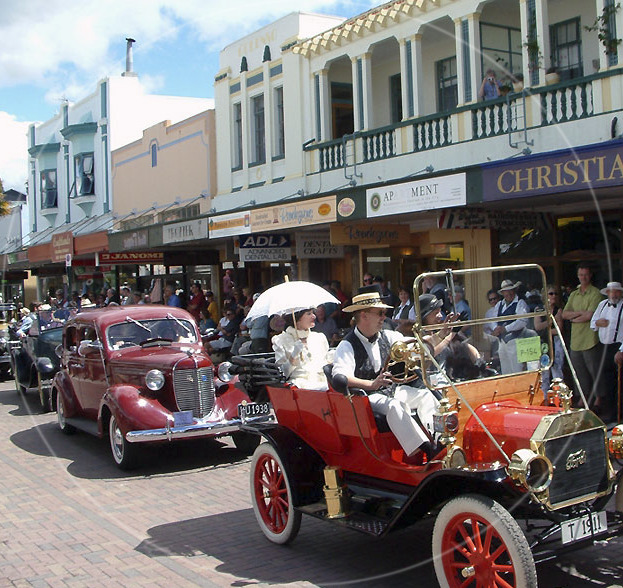 Emerson Street Napier with vintage cars