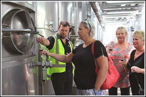 Hawkes Bay Scenic Tours - Sampling-from-a-wine-tank before wine and food matching