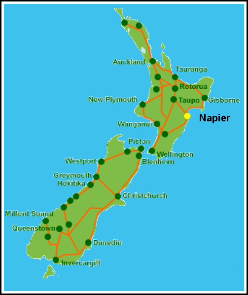 Map showing Napier's location