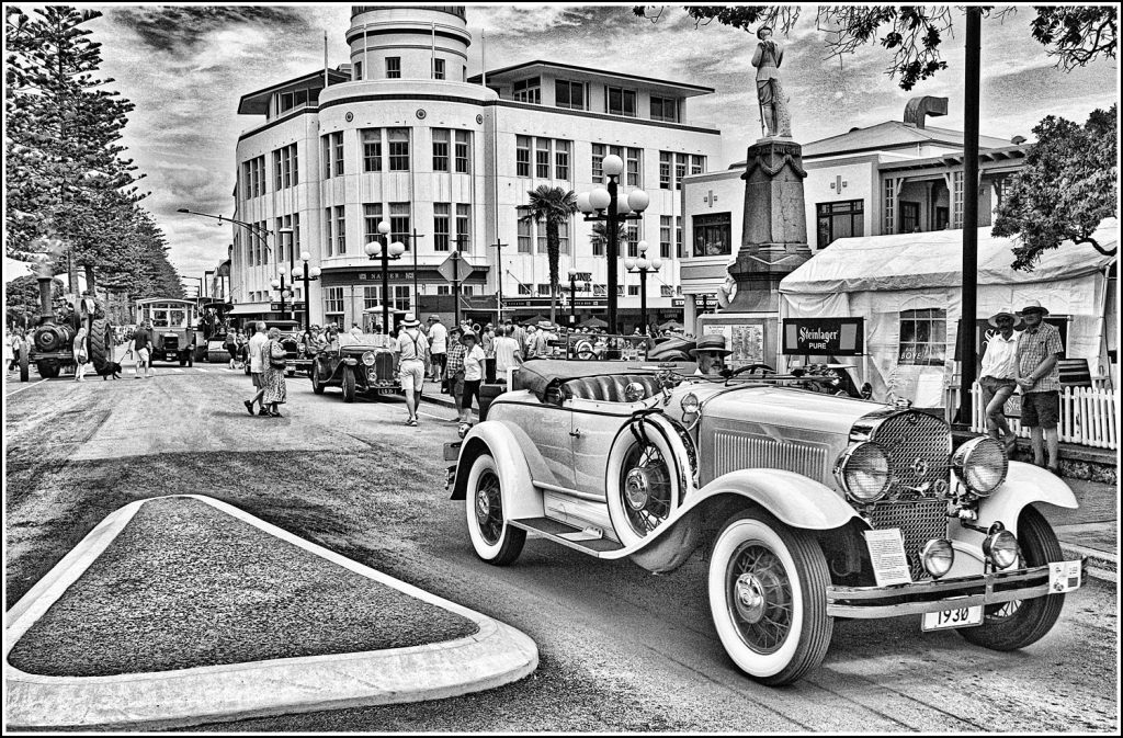 Black and White photo I created of a steam vintage cars on Napier's Marine Parade 2020